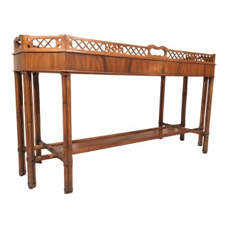 Faux Bamboo Console Table For Sale