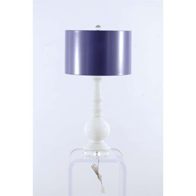 A Beautifully Simple pair of pure white Murano glass lamps, circa 1970. Gorgeous lacquer shade provides contrast....