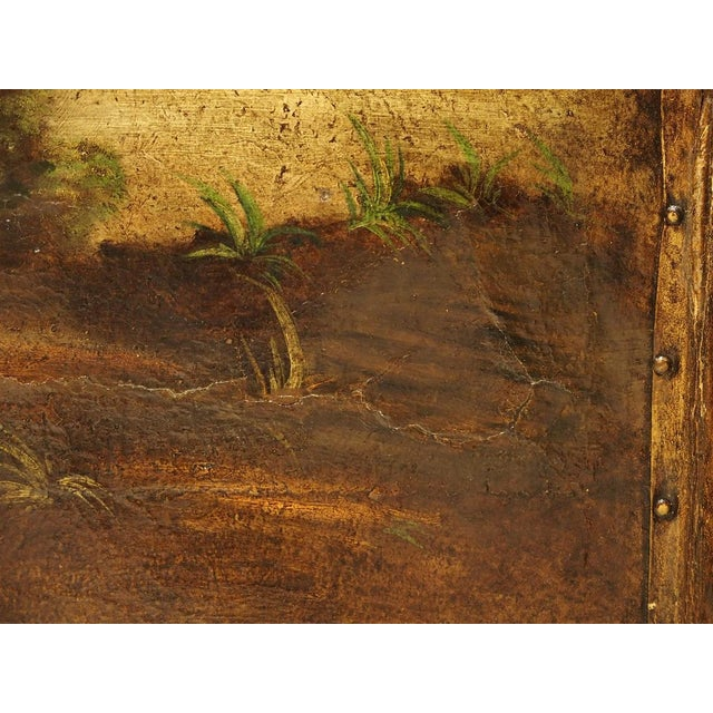 19th Century Antique Painted English Four Panel Leather Screen, 19th Century For Sale - Image 5 of 13