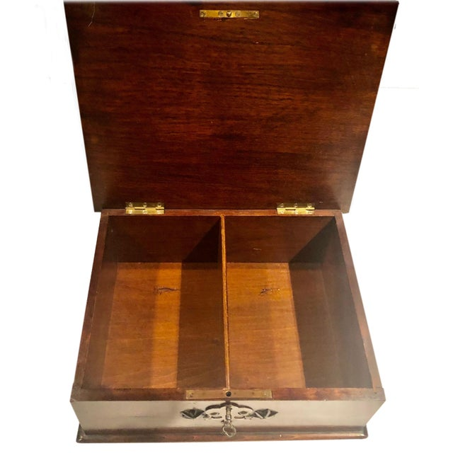 Wood Antique Turn of the Century German Walnut Box For Sale - Image 7 of 10