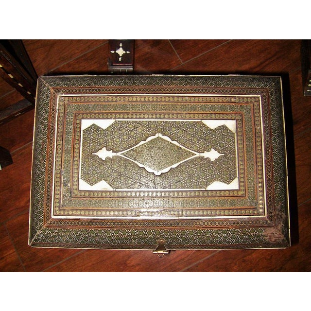 Islamic 18c Indo Portugese or Persian Vargueno Mini Cabinet For Sale - Image 3 of 13