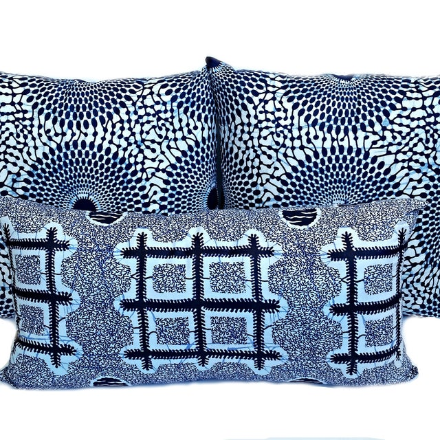 Blue Iris African Wax Print Pillow Covers - A Pair - Image 3 of 4