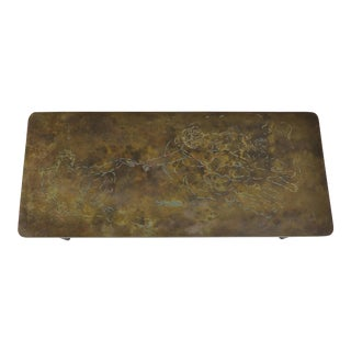 Phillip & Kelvin Laverne Bronze Coffee Table After Michelangelo For Sale