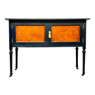 Navy Blue Mahogany Sideboard For Sale
