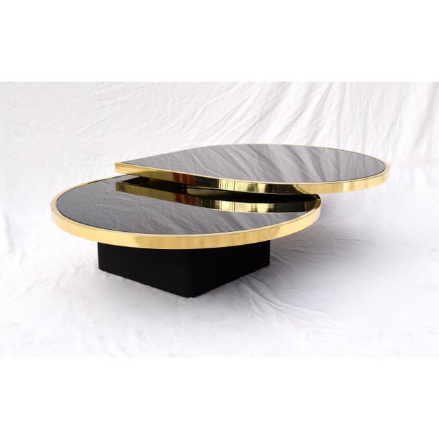 Swivel Brass & Black Glass Cocktail Table by Design Institute of America For Sale - Image 13 of 13