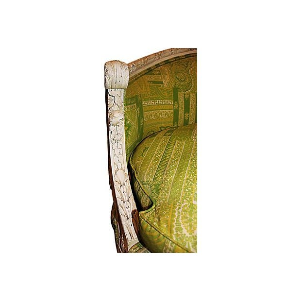 19th Century Green French Carved Loveseat - Image 6 of 8