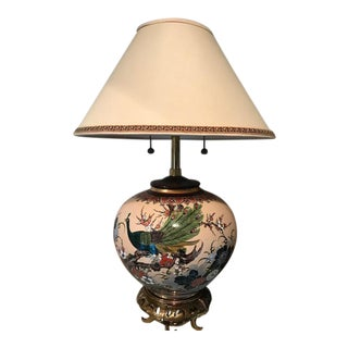 Satsuma Design Peacock & Floral Table Lamp For Sale