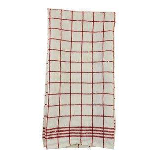 Red & White Check Linen Hand Towel For Sale