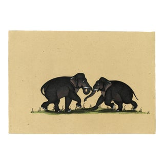 Watercolor Painting of Two Indian Elephant From Early 20th Century For Sale