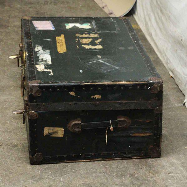 Metal Antique Trunk With Bronze Hardware For Sale - Image 7 of 9