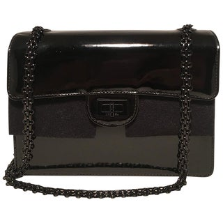 Chanel Black on Black Patent Leather Classic Flap Shoulder Bag For Sale