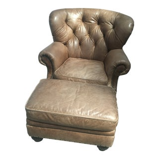 Lillian August Leather Tufted Club Chair & Ottoman Vintage Brass Tack Lined - a Pair For Sale