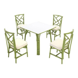 Faux Bamboo Rattan Dining Set- 5 Pieces For Sale