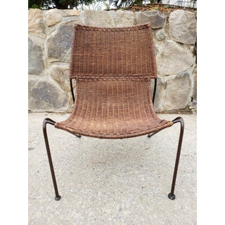 Mid Century Frederic Weinberg Wrought Iron & Rattan Lounge Chair Preview
