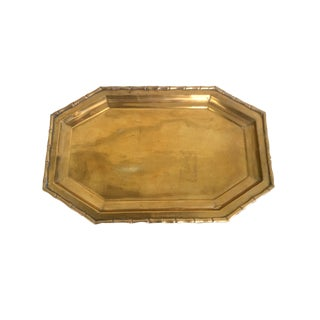 1980s Hollywood Regency Brass Tray With Bamboo Pattern Rim