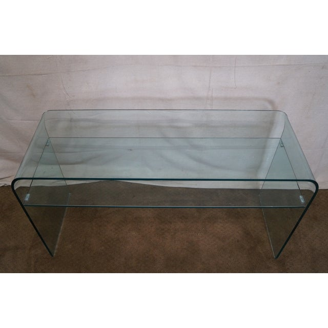 Glass Mid-Century Modern Curved Glass Console Table For Sale - Image 7 of 10