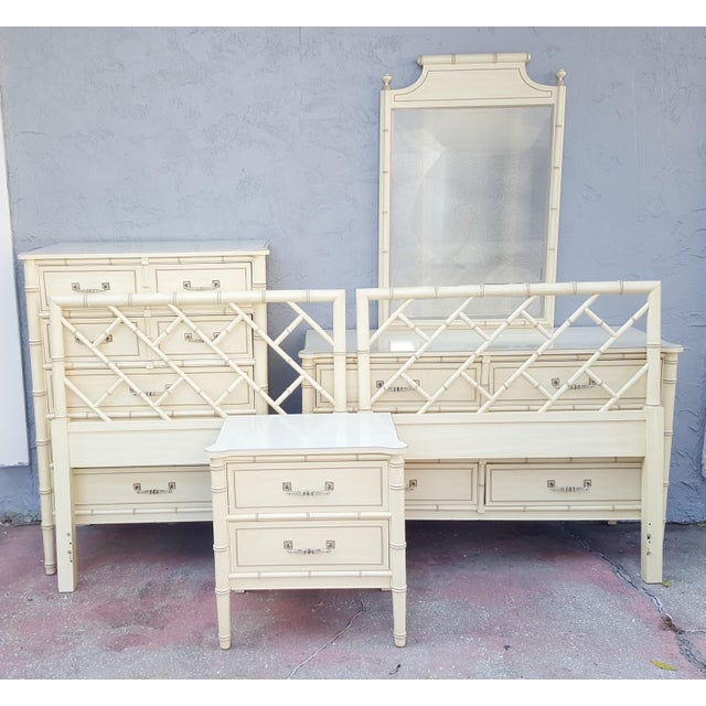 Hollywood Regency Henry Link Faux Bamboo Bali Hai Twin Bedroom Set - 6 Pieces For Sale - Image 13 of 13