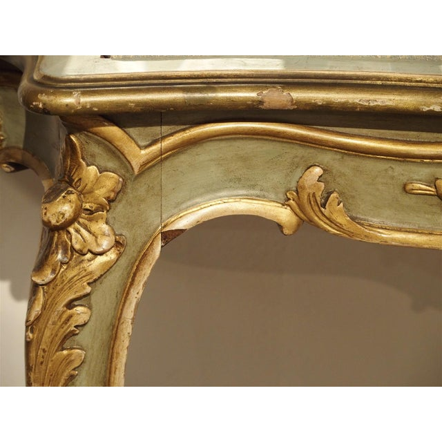Green Antique Painted Console Table and Mirror from Italy, Circa 1880 For Sale - Image 8 of 11
