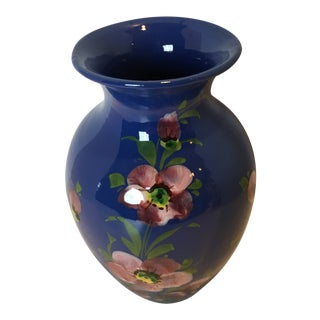 1970s Italian Periwinkle Floral Vase For Sale