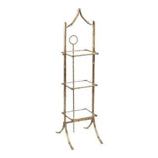 1950s Hollywood Regency Faux Bamboo Pagoda Three Tier Cake Stand Etagere Collapsable For Sale