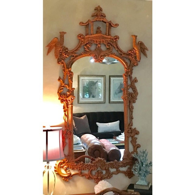 Chinese Chippendale Style Pagoda Mirror With Hoho Birds For Sale - Image 4 of 9