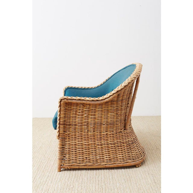 Wicker Pair of McGuire Rattan Wicker Lounge Chairs and Ottoman For Sale - Image 7 of 13
