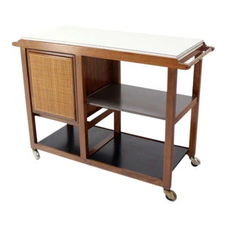 Mid-Century Modern Flip-Top Walnut Serving Cart For Sale