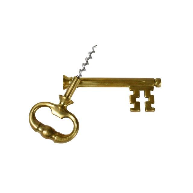 Vintage Italian Brass Skeleton Key With Hidden Corkscrew Wine and Bottle Opener For Sale