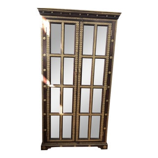 Vintage Wood Cabinet With Metal Detail For Sale