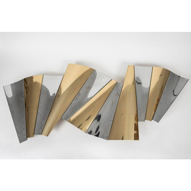 1980s Curtis Jere Brass and Chrome Wall Sculpture For Sale - Image 5 of 5