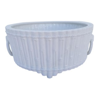 1980s Italian Vintage Faux Bamboo White Ceramic Bowl For Sale