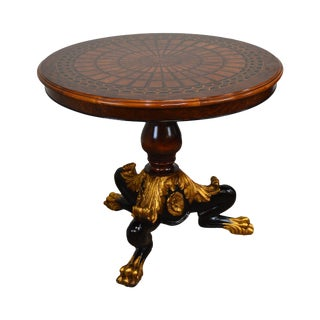 Rho Mobili d'Epoca Round Marquetry Inlaid Empire Center Table For Sale
