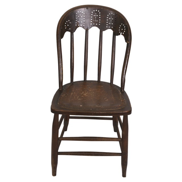 Windsor Chair Tooled Leather Seat Pierced Bib - Image 1 of 6