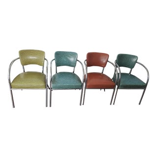 1929 Mid-Century Chrome and Vinyl Office Chair- Set of 4
