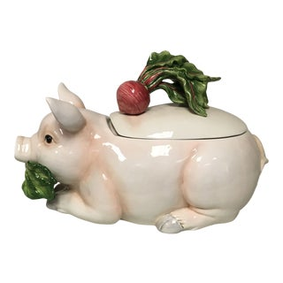 Fitz & Floyd French Market Figural Pig Tureen For Sale
