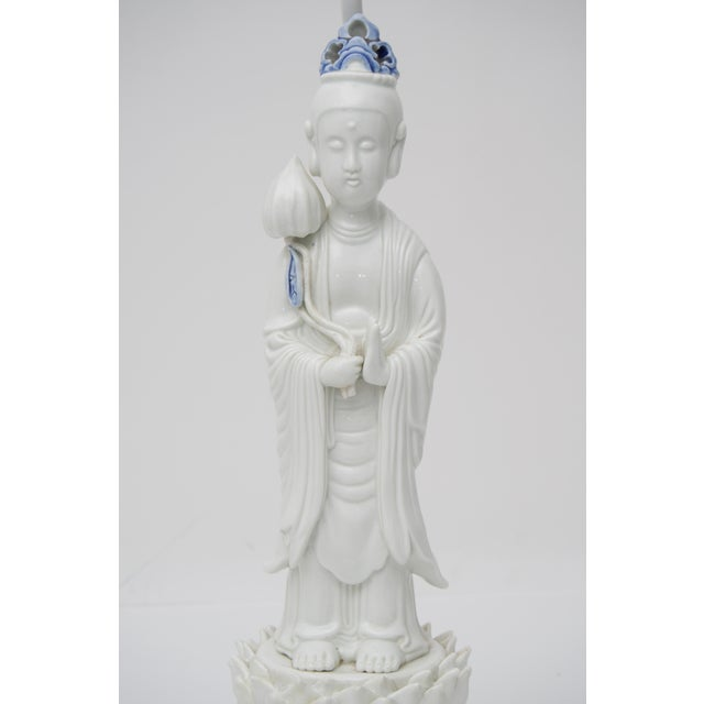 This stylish and chic table lamp with Quan Yin figure dates to the early part of the 20th century during the Art Deco...