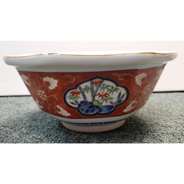 Vintage 1970s Japanese Takahashi Imari Style Porcelain Octagonal Bowl For Sale In New Orleans - Image 6 of 8