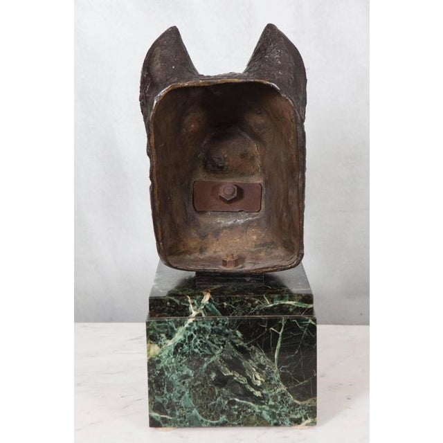 French Bronze Bust of Dog on Marble Base For Sale - Image 4 of 5