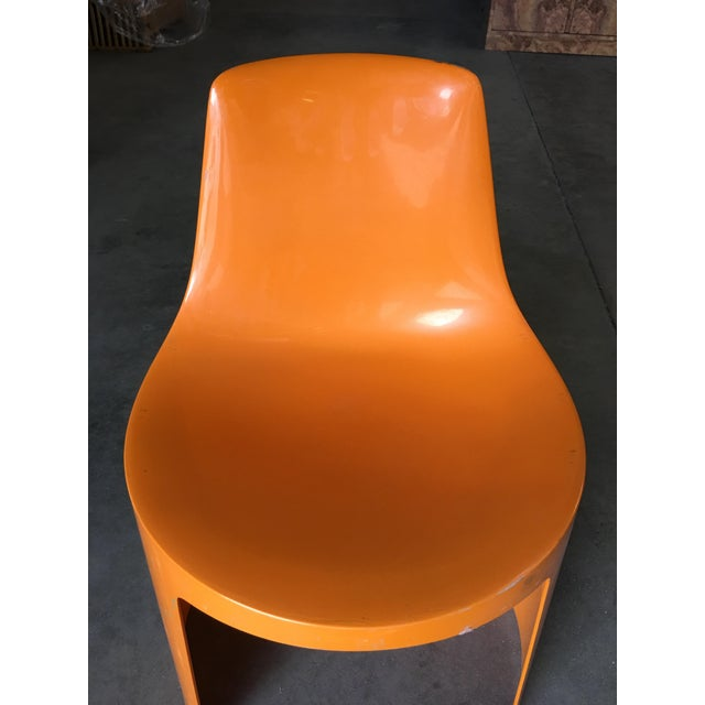 Orange Early Swedish Orange Plastic Stacking Side Chairs by Overman - Set of 4 For Sale - Image 8 of 9