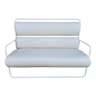 Mid Century White Settee/Sofa in White Leatherette For Sale