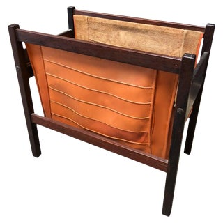Italian Modern Rosewood and Orange Leather Magazine Rack For Sale