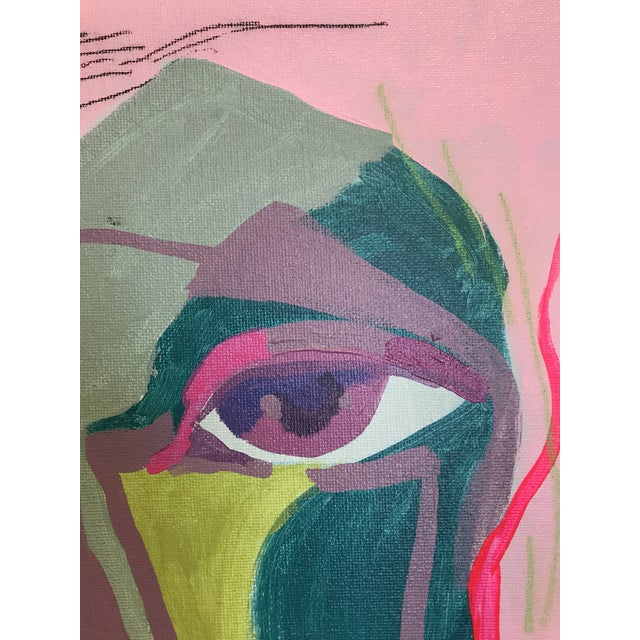 """Early 21st Century Contemporary Abstract Portrait Painting """"It Goes by Fast"""" - Framed For Sale - Image 5 of 8"""