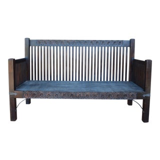 Spanish Colonial/Mission Style Wooden Bench For Sale