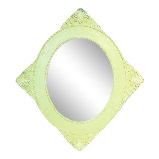Antique Diamond Painted Wall Mirror For Sale