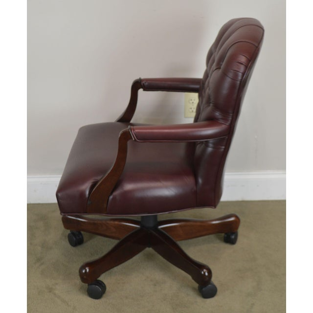 Oxblood Red Leather Tufted Chesterfield Style Executive Office Desk Chair (E) For Sale In Philadelphia - Image 6 of 13