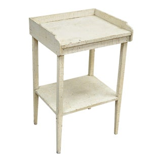 Antique White Distress Painted Pine 2 Tier Accent Side Table Rustic Primitive For Sale