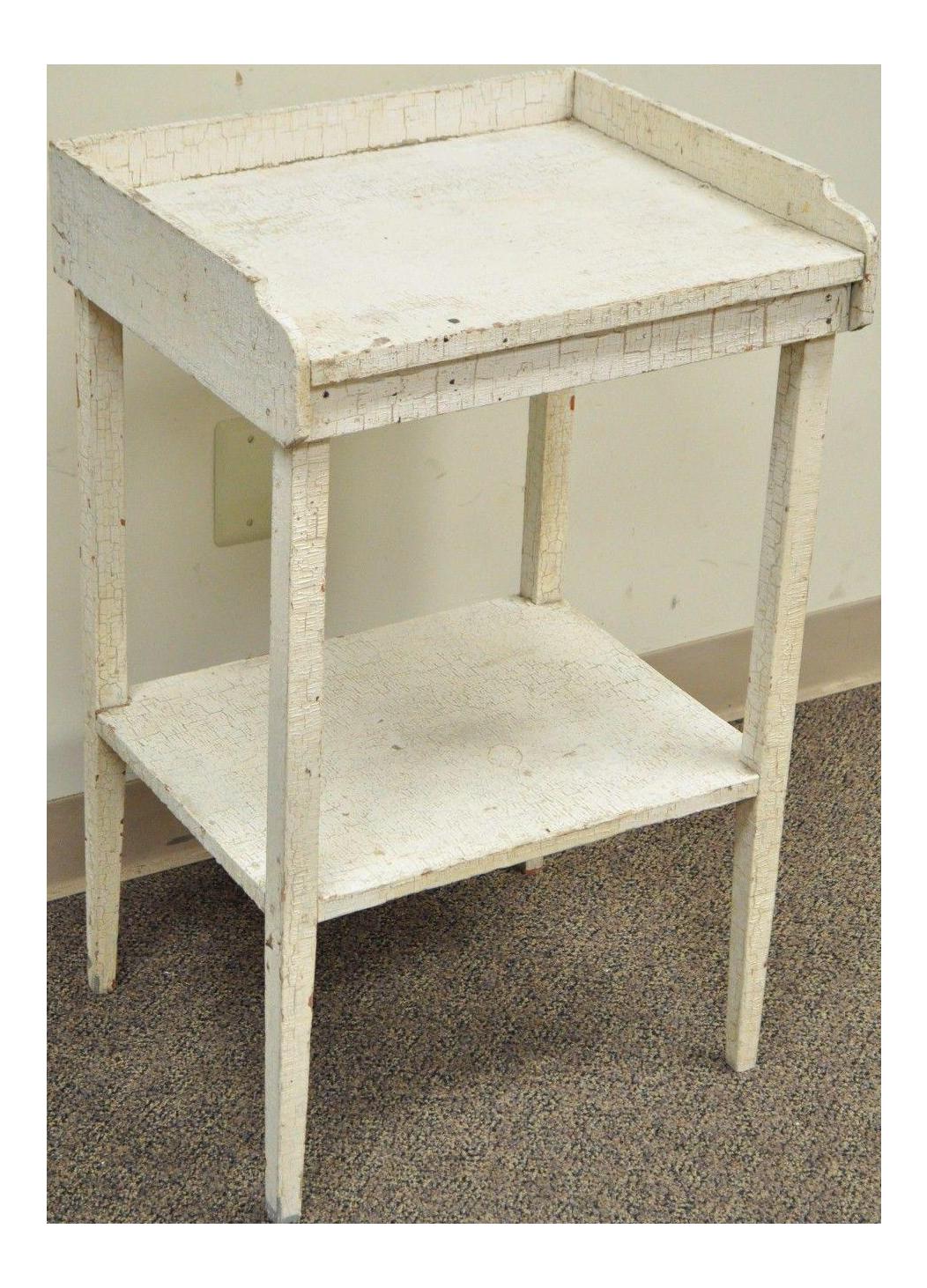 Antique White Distress Painted Pine 2 Tier Accent Side Table Rustic  Primitive