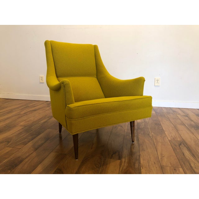 Milo Baughman for Thayer Coggin vintage lounge chair, newly reupholstered in Knoll yellow, Knoll calls the color ochre,...