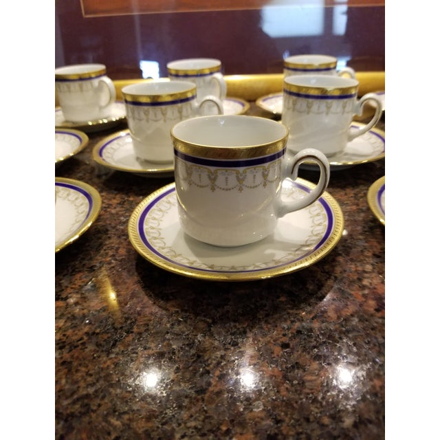 White Collection of Eleven German Porcelain Demitasse Cups and Saucers For Sale - Image 8 of 9