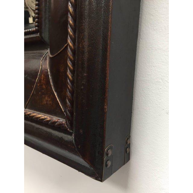 Animal Skin Leather Wrapped Mirrors, Pair For Sale - Image 7 of 11
